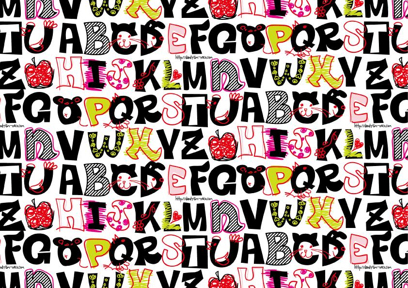 らくがきアルファベット柄包装紙