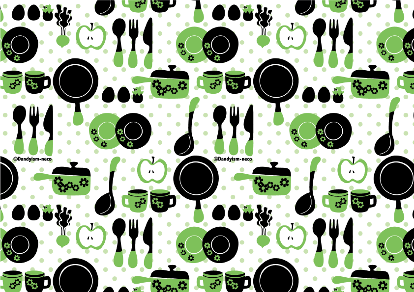キッチン柄包装紙 緑