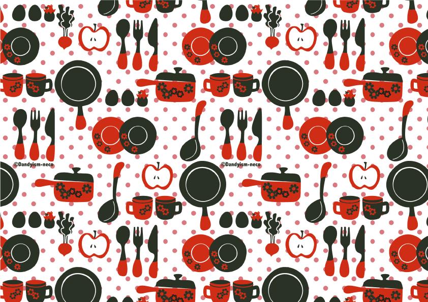 キッチン柄包装紙 赤